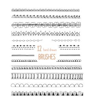 Conjunto de adornos de pinceles de estilo doodle