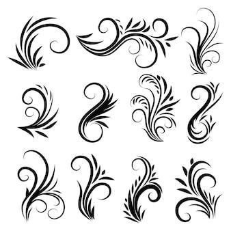 Conjunto de adornos de remolino caligráficos vintage