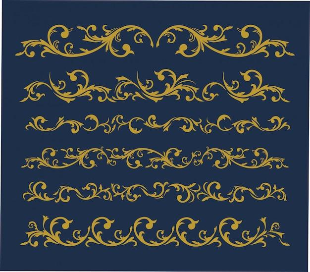 Conjunto de adornos vintage horizontales