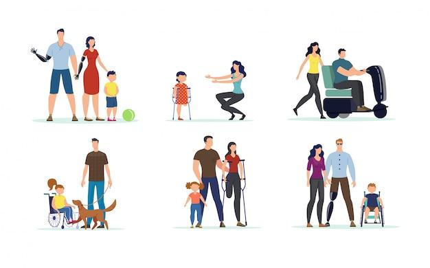 Conjunto de adultos y niños con discapacidades