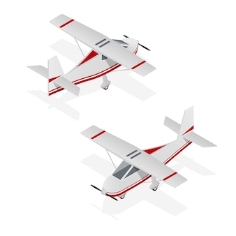 Conjunto de aeroplano mínimo en vista isométrica