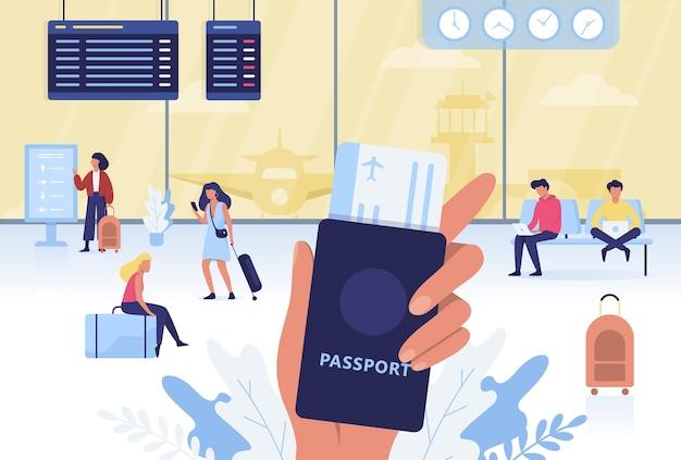 Conjunto de aeropuerto. mano sujetando pasaporte y boleto
