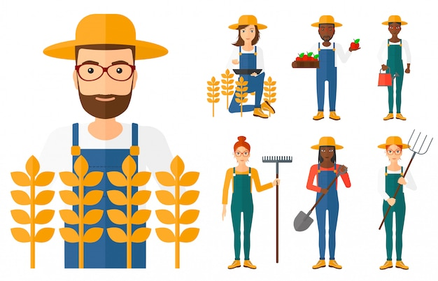 Conjunto de agricultores agrícolas.