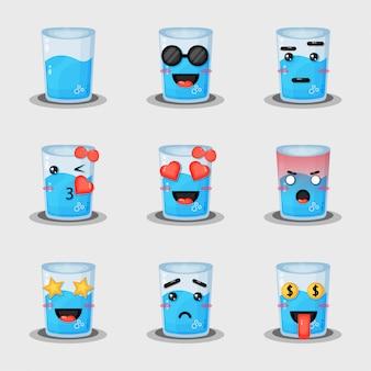 Conjunto de agua mineral con expresión.