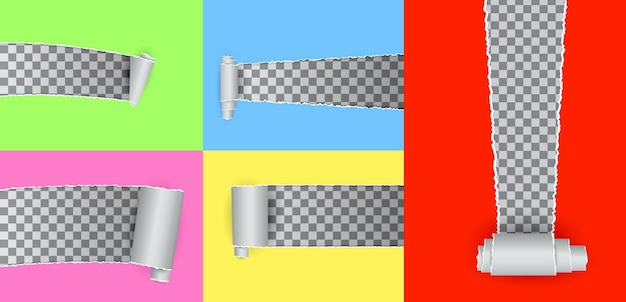 Conjunto de agujero realista rasgado en el papel aislado o varios agujeros rasgados en papel blanco rasgado o agujero