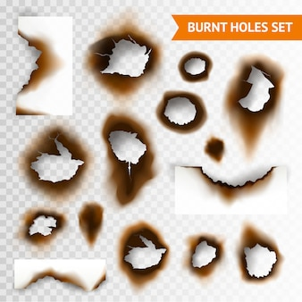 Conjunto de agujeros quemados