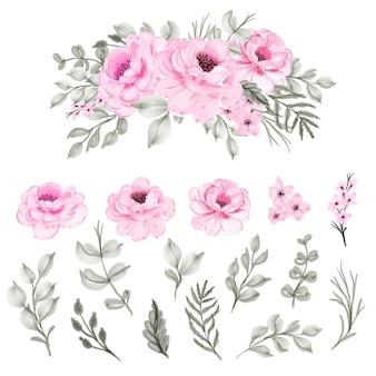 Conjunto aislado acuarela flor rosa y hoja