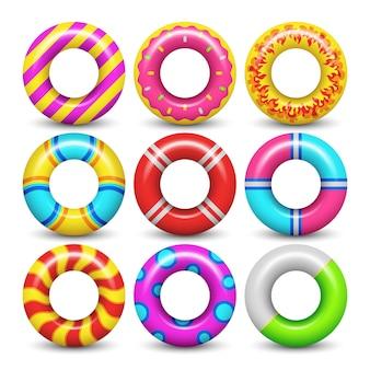 Conjunto aislado anillo de goma del vector de la natación. anillo de goma para nadar mar ilustración
