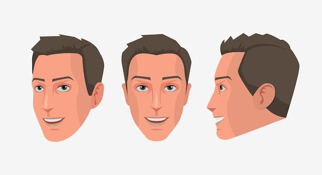 Conjunto aislado de cara de hombre