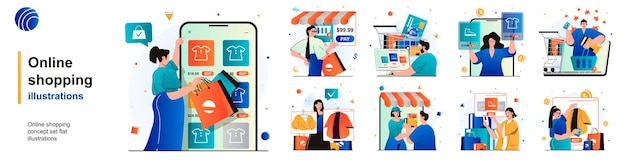 Conjunto aislado de compras en línea los clientes eligen y pagan las compras en el sitio de escenas en piso