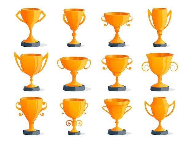 Conjunto aislado de copas de campeón de oro