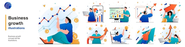 Conjunto aislado de crecimiento empresarial desarrollo exitoso y crecimiento financiero de escenas en diseño plano