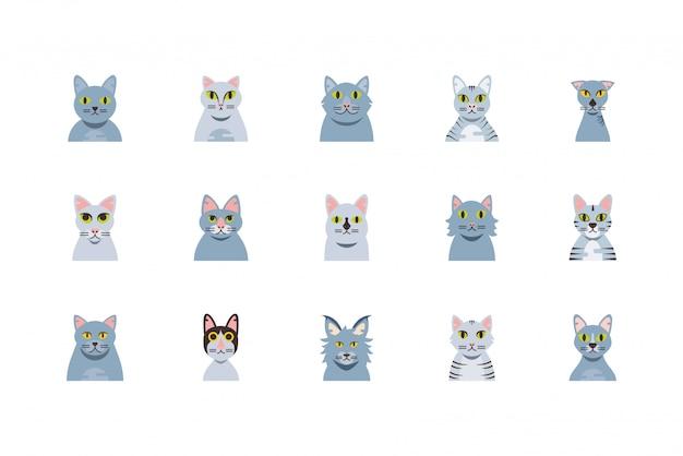 Conjunto aislado de diseño de dibujos animados lindos gatos grises