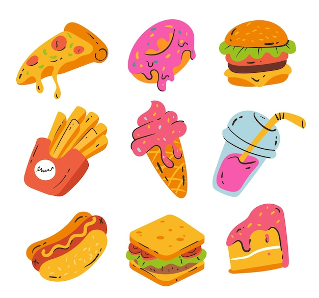 Conjunto aislado de elementos de diseño dibujado a mano de comida rápida