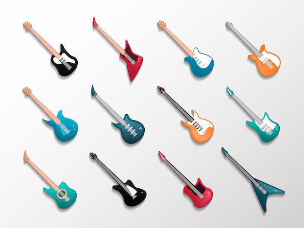 Conjunto aislado de guitarras electrónicas y acústicas