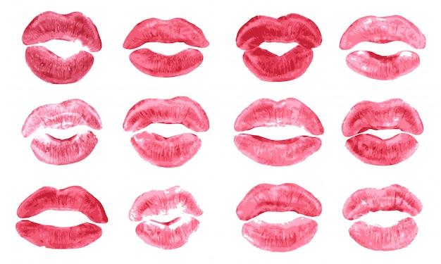 Conjunto aislado de impresión de beso de lápiz labial