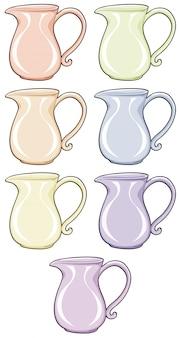 Conjunto aislado de jarra en diferentes colores