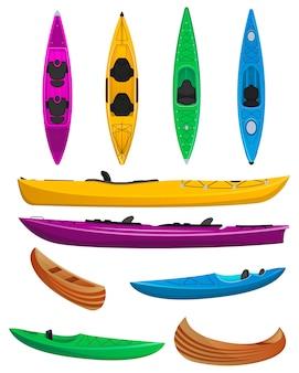 Conjunto aislado de kayaks coloridos de plástico