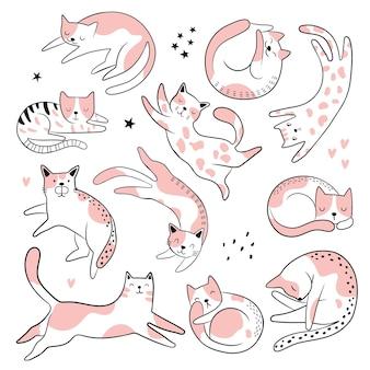 Conjunto aislado con lindos gatos graciosos en estilo de dibujos animados