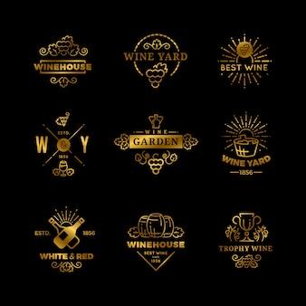 Conjunto aislado de logotipos y emblemas de vino