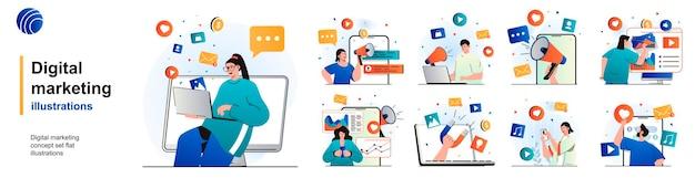 Conjunto aislado de marketing digital promoción online y atracción de nuevos clientes de escenarios en diseño plano