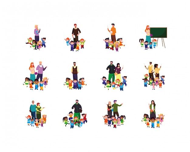 Conjunto aislado de niños y niñas con ilustración de maestros