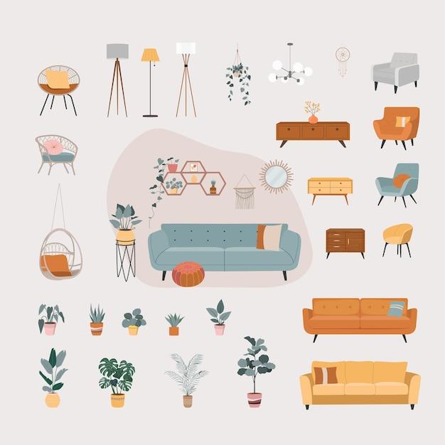 Conjunto aislado de objetos interiores de casa. muebles del hogar.