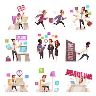 Conjunto aislado de personas de negocios de demasiado ocupado y apresurándose a trabajar ilustración de vector plano de trabajadores de oficina