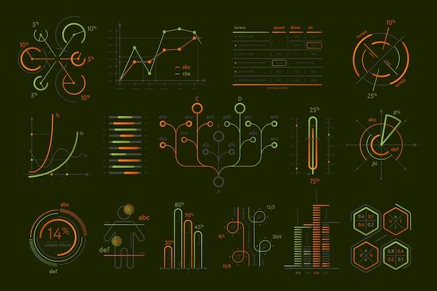Conjunto aislado de varias infografías de negocios