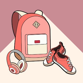 Conjunto aislado vector mochila, zapatillas y auriculares.