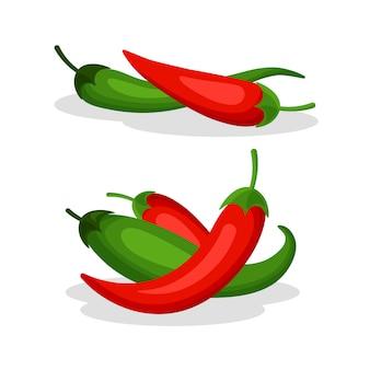 Conjunto de ají aislado sobre fondo blanco. pimientos picantes rojos y verdes picantes. dibujos animados de chile mexicano en un moderno estilo plano.