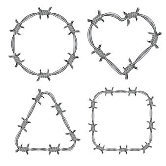 Conjunto de alambre de púas marco