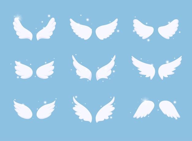 Conjunto de alas de ángel dibujadas a mano con efecto de luz