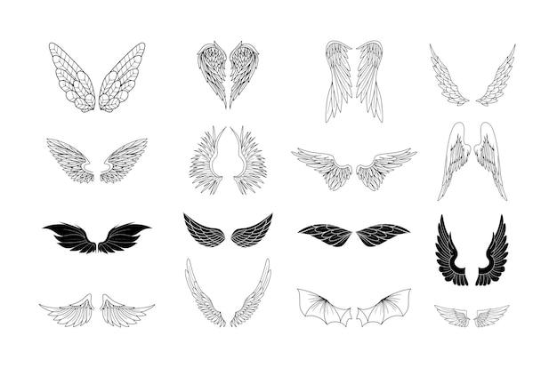 Conjunto de alas vectoriales de criaturas fantásticas y reales.