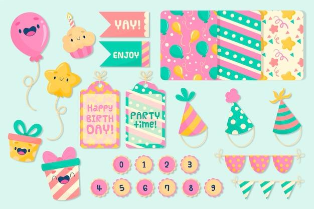 Conjunto de álbum de recortes de cumpleaños colorido