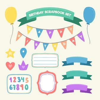 Conjunto de álbum de recortes de cumpleaños de diseño plano