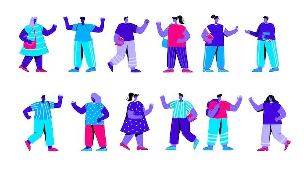 Conjunto de alegres estudiantes universitarios o universitarios después del examen de personaje de gente azul plana