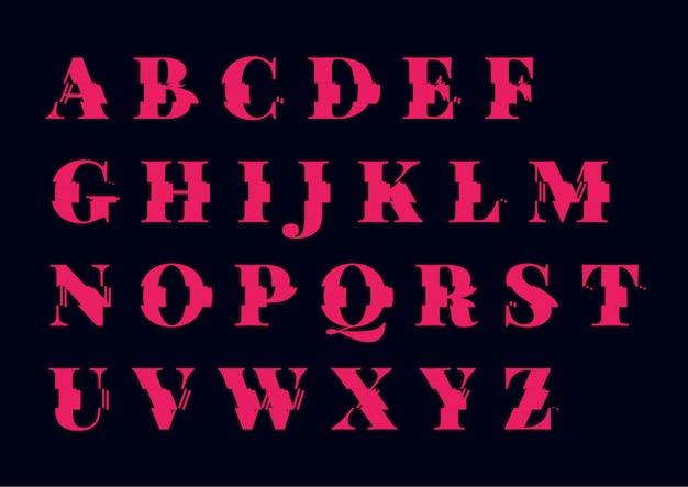 Conjunto de alfabeto abstracto glitch font