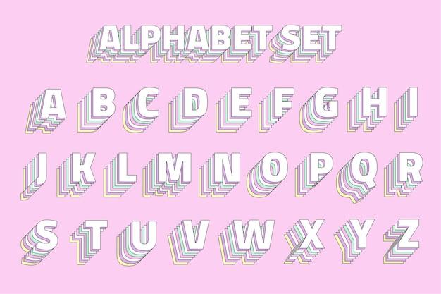 Conjunto de alfabeto de capas pastel vintage