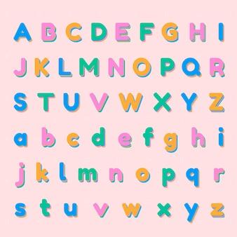 Conjunto de alfabeto colorido 3d