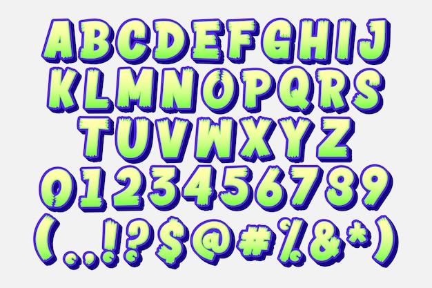 Conjunto de alfabeto de dibujos animados de moda