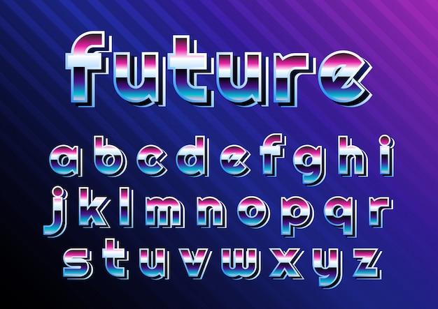 Conjunto de alfabeto digital retro cibernético