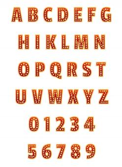 Conjunto de alfabeto y dígitos en inglés. para pancartas, carteles, folletos y folletos.