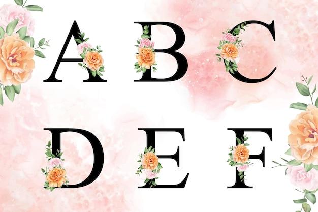 Conjunto de alfabeto floral acuarela de abcdef con flores y hojas dibujadas a mano