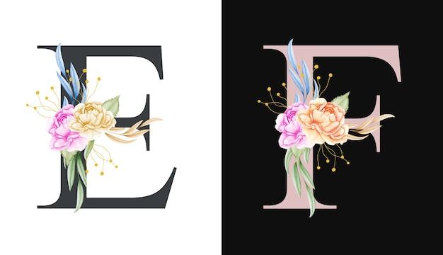 Conjunto de alfabeto floral acuarela de e, f con hermosas flores y hojas
