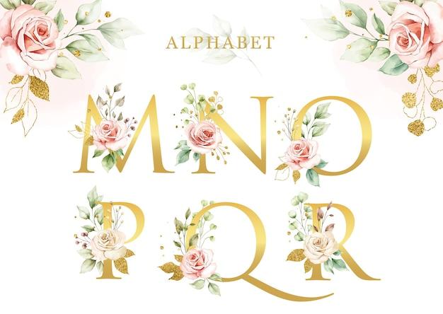 Conjunto de alfabeto floral acuarela de con hojas doradas
