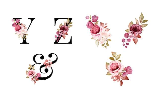 Conjunto de alfabeto floral acuarela de y, z y con flores y hojas rojas y marrones.