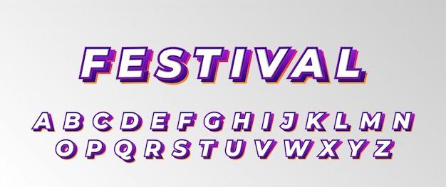 Conjunto de alfabeto de fuente de festival promocional