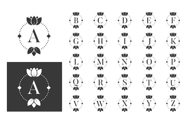 Conjunto de alfabeto de logo de loto de monograma de lujo