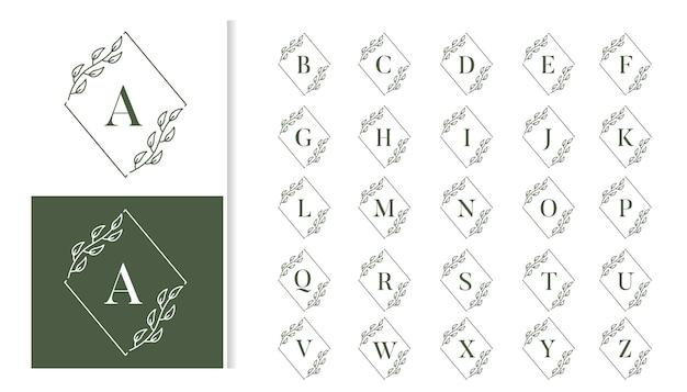 Conjunto de alfabeto de logotipo de monograma de boda de lujo decorativo